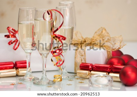 stock photo Party time at Christmas with champagne and decorations