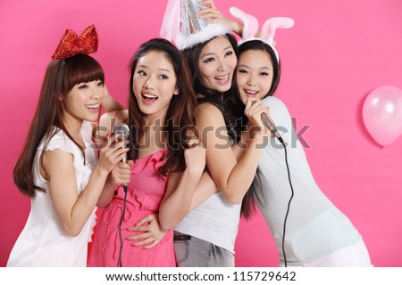 party time together with young group - stock photo