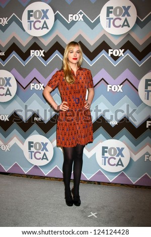 PASADENA, CA - JAN 8:  Dakota Johnson attends the FOX TV 2013 TCA Winter Press Tour at Langham Huntington Hotel on January 8, 2013 in Pasadena, CA - stock photo