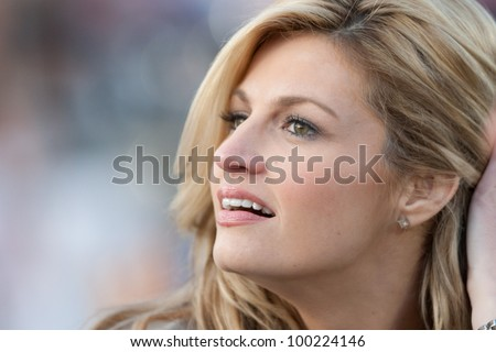 PASADENA, CA. - JAN 1: ESPN reporter Erin Andrews during the 2011 Rose Bowl game on Jan 1 2011 at The Rose Bowl in Pasedena, CA.