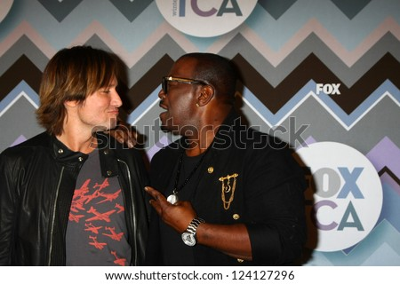 PASADENA, CA - JAN 8:  Keith Urban, Randy Jackson attends the FOX TV 2013 TCA Winter Press Tour at Langham Huntington Hotel on January 8, 2013 in Pasadena, CA