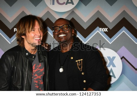PASADENA, CA - JAN 8:  Keith Urban, Randy Jackson attends the FOX TV 2013 TCA Winter Press Tour at Langham Huntington Hotel on January 8, 2013 in Pasadena, CA - stock photo