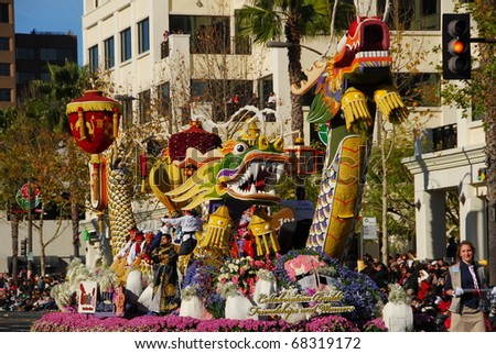 PASADENA, CA - JANUARY 1: China Airlines Collaboration builds friendships and winners float at the 122nd tournament of roses Rose Parade on January 1 2011 in Pasadena California