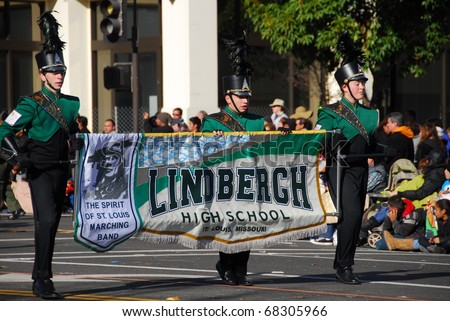 PASADENA, CA - JANUARY 1: Lindbergh High School Spirit Of St Louis Marching Band from St Loius MO performs at the 122nd tournament of roses Rose Parade on January 1 2011 in Pasadena California