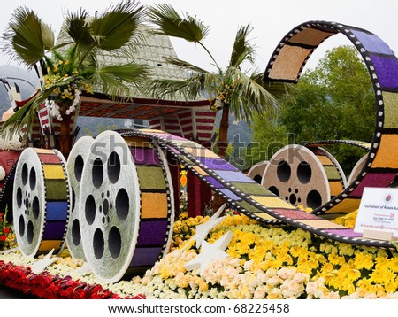 "PASADENA, CA - JANUARY 1: The City of Los Angeles designed a float based on ""Cirque du Soleil's"" new show ""IRIS"" at the 122nd Tournament of Roses Parade on January 1, 2011 in Pasadena, California."