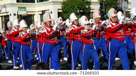 PASADENA, CA - JANUARY 1: The Los Angeles Unified School District Band plays at the tournament of roses Rose Parade on January 1, 2011 in Pasadena California