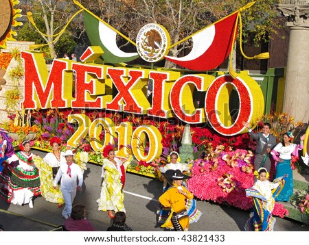 PASADENA, CA - JANUARY 1: The Mexico 2010 float celebrated Mexico's bicentennial events in the Rose Bowl Parade on January 1, 2010 in Pasadena, California.