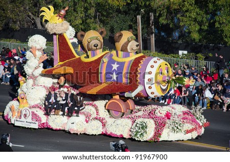 PASADENA, CA - JANUARY 2: The Shriners Hospitals for Children's float called Soaring For Kids participated in the 123rd Tournament of Roses Parade on January 2, 2012 in Pasadena, California.