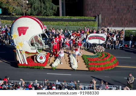 PASADENA, CA - JANUARY 2: The University of Wisconsin float was seen in the 123rd Tournament of Roses Parade on January 2, 2012 in Pasadena, California.