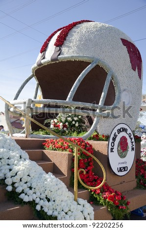 PASADENA, CA - JANUARY 3: The University of Wisconson Float, participated in the 123rd Tournament of Roses Parade and was on display on January 3, 2012 in Pasadena, California.