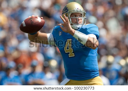 PASADENA, CA. - SEP 17: UCLA Bruins QB Kevin Prince #4 in action during the NCAA Football game between the Texas Longhorns & the UCLA Bruins on Sep 17 2011 at the Rose Bowl.