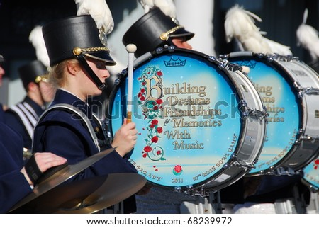 PASADENA, CA/USA - JANUARY 1: Downington Pennsylvania High School blue and gold marching band at the 122nd tournament of roses Rose Parade on January 1 2011 in Pasadena California