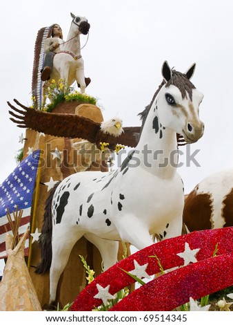 PASADENA, CA/USA - JANUARY 1: The Saving America's Mustangs Foundation float was displayed at the 122nd Tournament of Roses Parade on January 1 2011 in Pasadena California.