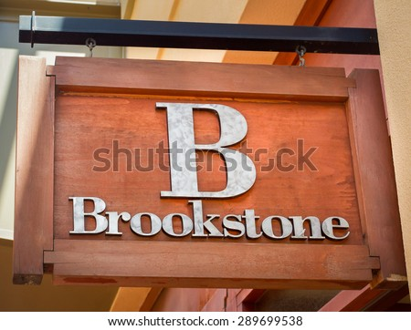 PASADENA, CA/USA - JUNE 21, 2015: Brookstone retail store sign. Brookstone is a speciality retail store commonly found in shopping malls.