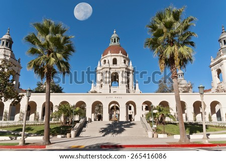 Pasadena City Hall east entrance. The moon was shot separately and digitally merged. The Pasadena City Hall is an iconic building in Pasadena, California, USA.