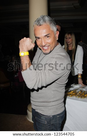 PASADENA - JAN 3: Cesar Millan of the show 'Leader of the pack' at the National Geographic Channels TCA party on January 3, 2013 at the Langham Hotel in Pasadena, California - stock photo