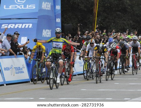 PASADENA - MAY 17:  Mark Cavendish wins the final stage of the Amgen Tour of California on May 17, 2015 in Pasadena, California.