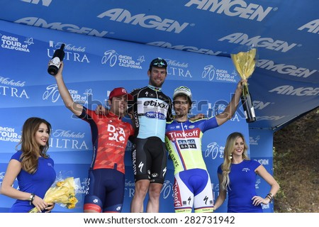 PASADENA - MAY 17:  The first three place winners of the final stage of the  Amgen Tour of California on May 17, 2015 in Pasadena, California.