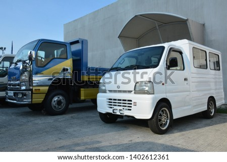 PASIG, PH - MAY 18: Suzuki multi cab at First U-Trip Rebuilt Truck Show on May 18, 2019 in Pasig, Philippines. #1402612361