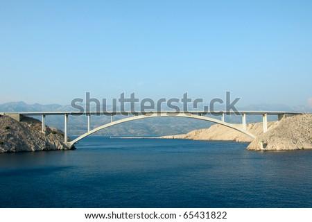 Paski Bridge on croatian island Pag