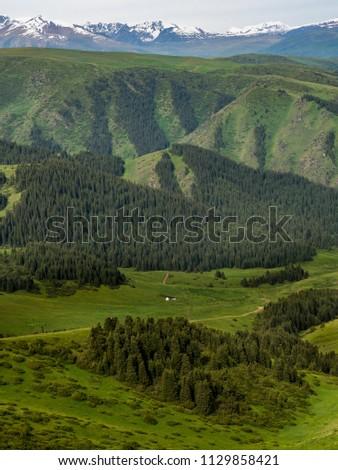 Pass in the Almaty Mountains, Plateau Assy, near Almaty city, Kazakhstan  #1129858421