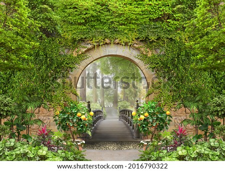 Passage to the summer sunny park through the arch with flowers Photo stock ©