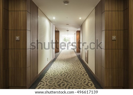 passage(way, path, passageway, hallway, aisle) in hotel room at the day in seoul, korea. #496617139