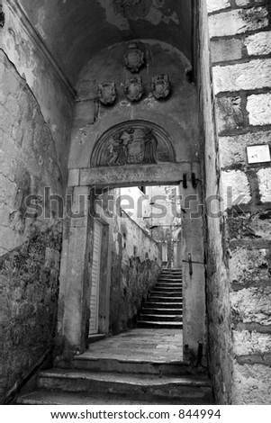 Passageway in Dubrovnik, Croatia.  Black and white.
