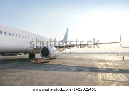 Passenger aircraft at the airport near the terminal. Unloading and loading baggage. Stock photo