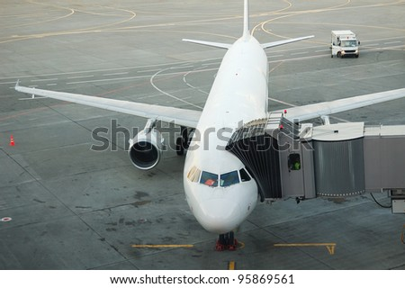 passenger aircraft is being boarded