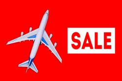 Passenger aircraft on a red background. Sale of air tickets and travel vouchers. Advertising banner and discount. Travel and tourism concept
