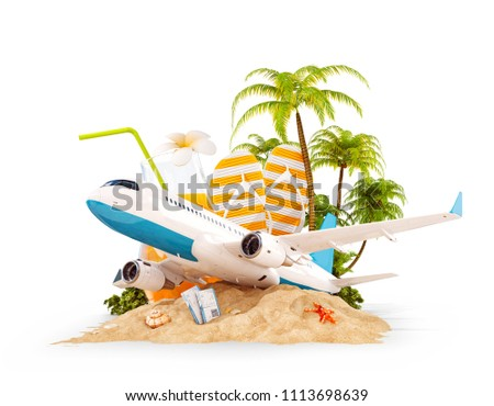Passenger airplane and tropical palm on a paradise island. Unusual travel 3d illustration isolated on white. Summer vacation and air travel concept