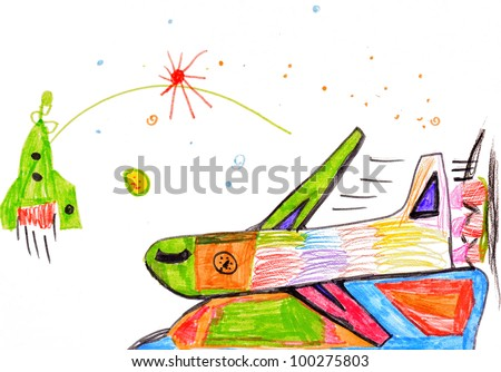 passenger airplane. children's drawing.