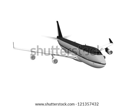 Passenger airplane 3d, grey airplane isolated on white background