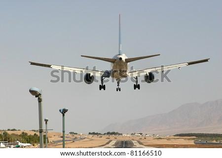 Passenger airplane few moments before landing.