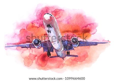 Passenger airplane flying in the sky sunset light.