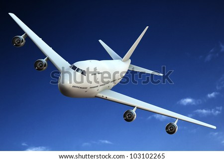 Passenger airplane in the blue sky.