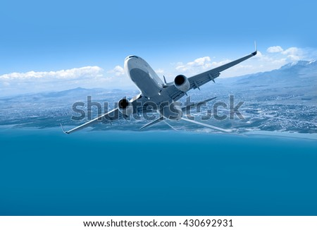 passenger airplane in the clouds. travel by air transport