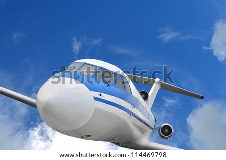 Passenger airplane in the sky