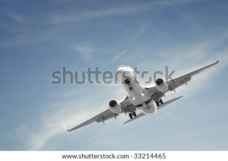 passenger airplane landing - stock photo