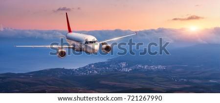 passenger airplane. landscape...