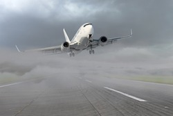 Passenger airplane leaving for the second go around, after an unsuccessful attempt to landing in bad weather, low visibility in the fog