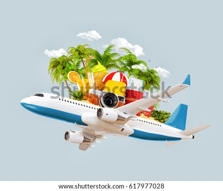 Passenger airplane, tropical palm, luggage, passports and camera in the sky. Unusual travel 3d illustration. Summer vacation and air travel concept