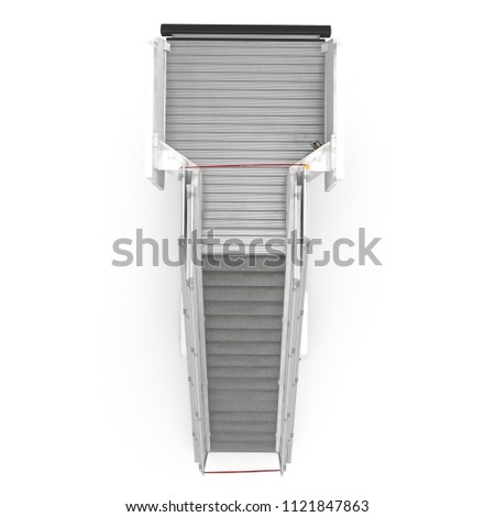 Passenger Boarding Stairs Car on white. Top view. 3D illustration #1121847863