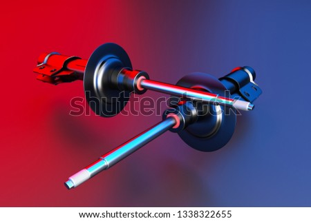 Passenger car Shock Absorber, new auto parts, spare parts. Spare parts for shop, aftermarket OEM. 3D rendering.