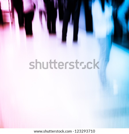 passenger crowd at subway station abstract blur