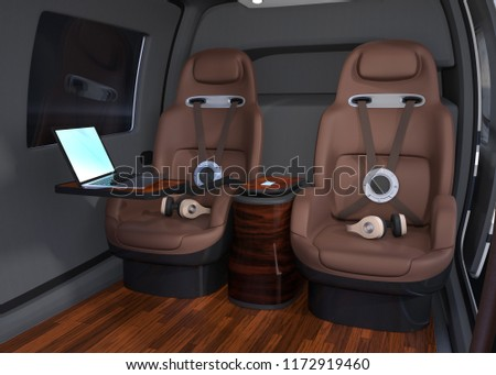 Passenger Drone interior. Headsets on passenger seats and laptop PC on small table. 3D rendering image.