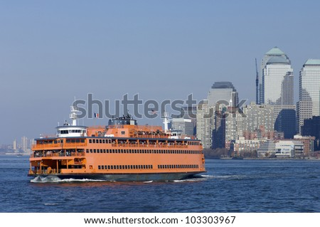 passenger ferry and skyscrapers in new york, usa