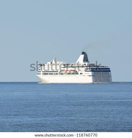 passenger ferry ship leaving port of Riga