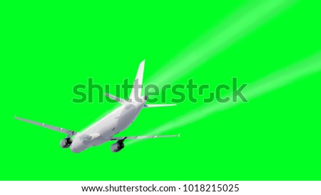 Passenger flying Plane . Isolate green screen. . A condensation trail of an airplane. 3d rendering.